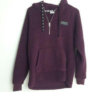 VS Pink Fuzzy Fleece Hoody XS 1/4 zip Burgundy